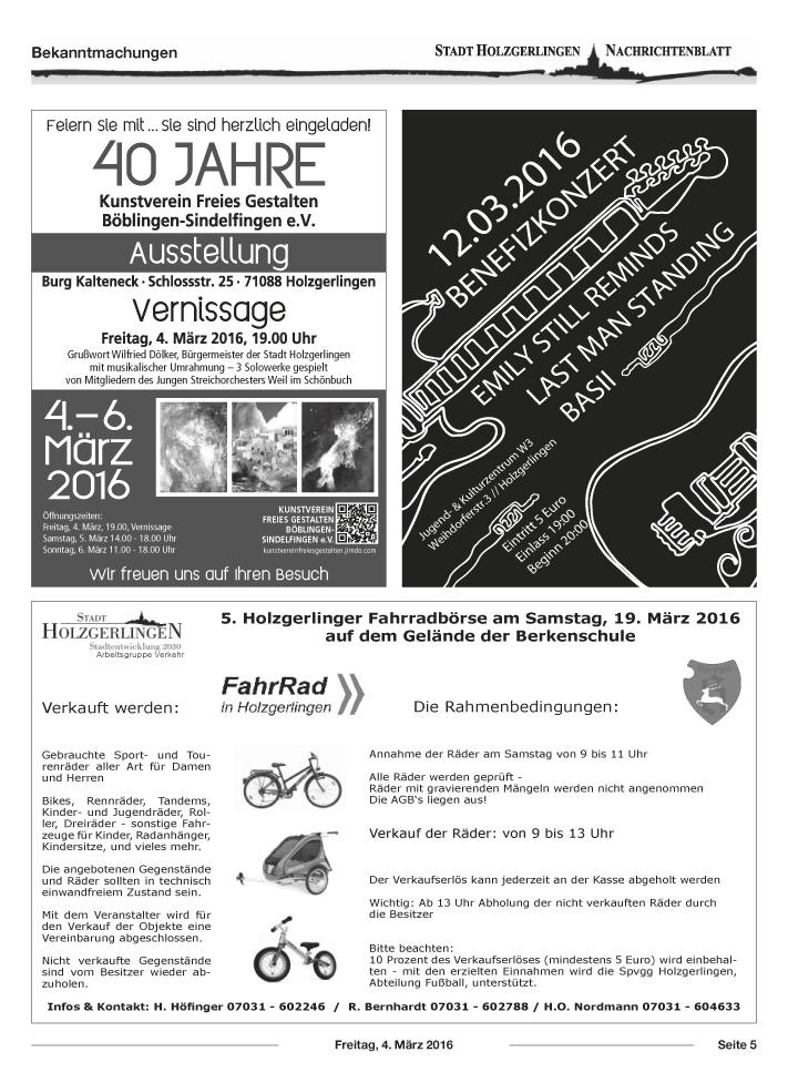 Anzeige im Nachrichtenblatt Holzgerlingen 04. März 2016