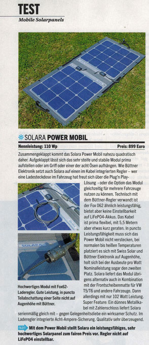 """With the Power Mobile, SOLARA is introducing a high-performance, very high-quality solar panel at a fair price..."" Test Mobile Solar Panels, magazine Reisemobil int. 9/2019. All tests passed. Ideal for camper, van, camper and off-road caravan."