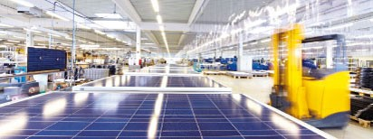 Solara plant in Wismar. Production Made in Germany of solar panels for campers, motorhome, sailing boats. Reliable independent and self-sufficient power supply worldwide with solar panels and photovoltaic from Solara and solar panels from Germany-over 20