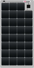 DCsolar Ecolux series solar panels with 70 Watt and 110 Watt for charging 12 Volt batteries. Solar panels with frame for caravans, campers and vans. Inexpensive solar modules with Sunpower solar cells also as complete set with 110 W. Cost-effective