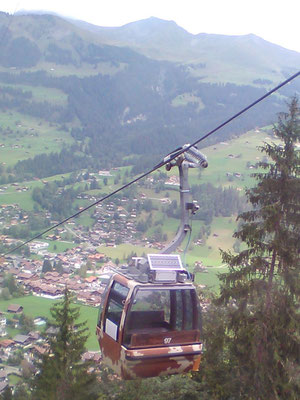 Gondola of a mountain railway in Switzerland with solar system - SOLARA solar power the reliable power supply even in the mountains!