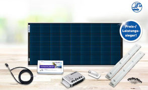 SOLARA Profi Pack. High-quality solar system complete with high-tech solar panel, Schaudt EBL charge controller, holding spoiler assembly system with adhesive set for reviving on the roof of a camper, as well as cables & detailed assembly instructions.