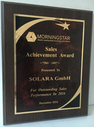 Award for excellent sales performance and support in 2016 for Morningstar solar leather sailors for motorhomes, sailboats, mountain huts, allotments, allotments and dachas (Datscha) with a five-year product guarantee.