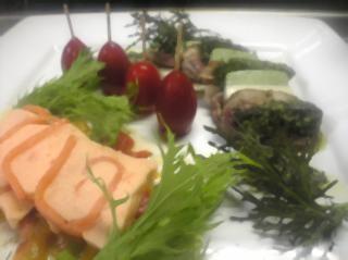 自家製スモークサーモンのテリーヌ・自家製チーズのテリーヌと合鴨のスモーク