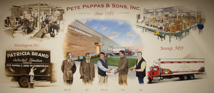 Our company mural encompasses everywhere we've been and how we've grown as a company. From humble beginnings in 1942 with Gus P and Pete K Pappas, to booming business in 2017 with Pete, Gus and Aris.