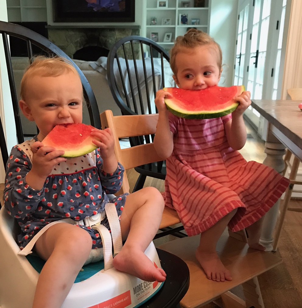 Pete's granddaughters Diana and Evie, Aris' daughters, enjoying some of our fresh watermelon