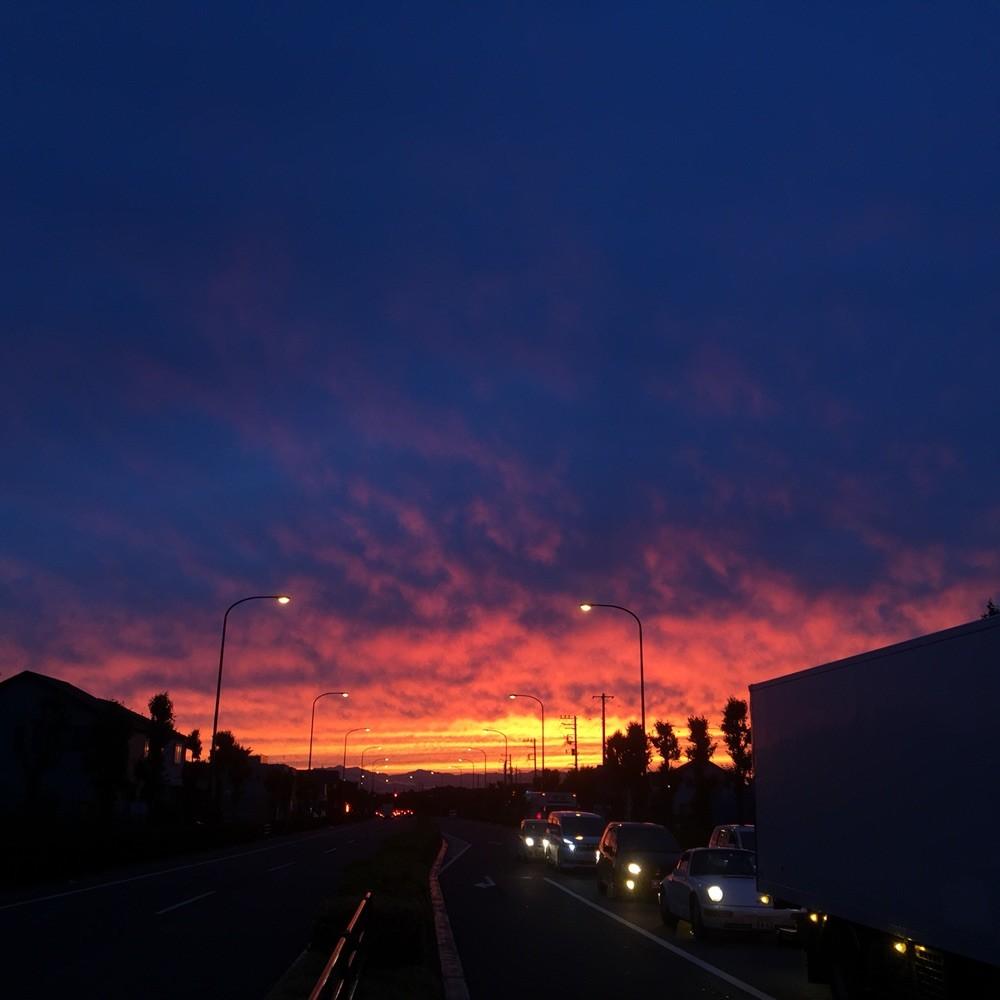 Sunset near Showakinen Park Tokyo Tachikawa