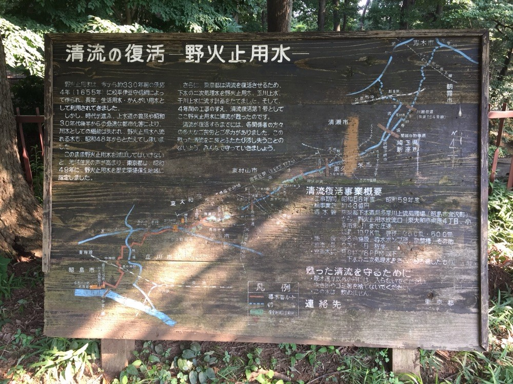 Guide map of Nobidomeyosui Aqueduct / waterway Tokyo Higashimurayama
