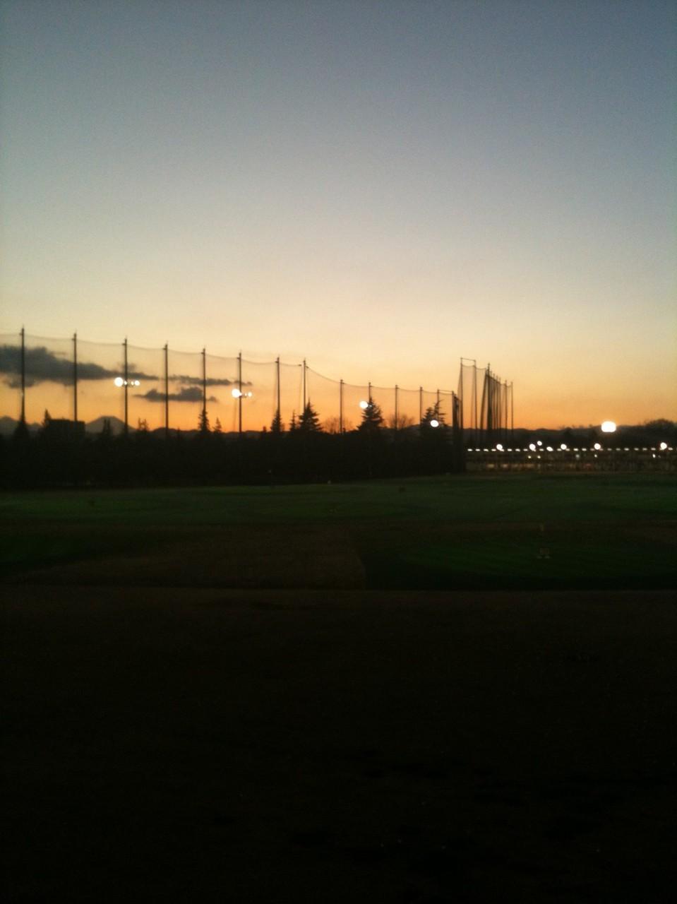 Mt. Fuji Sunset view from Showanomori Golf Drivingrage Tokyo Akishima