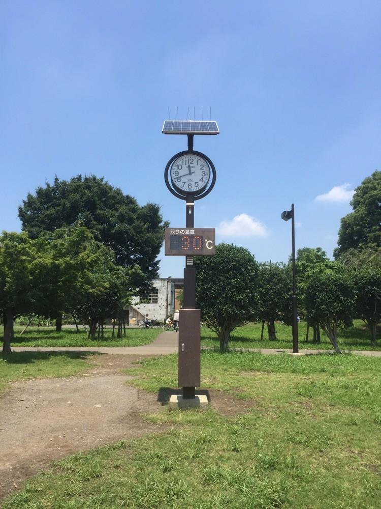 Clock & Thermometer at Higashiyamato-Minami Park Tokyo Higashiyamato sport picnic tourist spot TAMA Tourism Promotion 都立東大和南公園 東京都東大和市 スポーツ ピクニック 観光スポット 多摩観光振興会