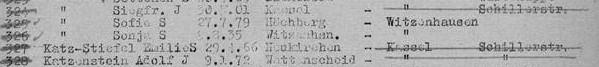 Ausschnitt aus Deportationsliste Theresienstadt 7.9.1942 vorletzte Zeile: Emilie Stiefel (Katz Stiefel)*