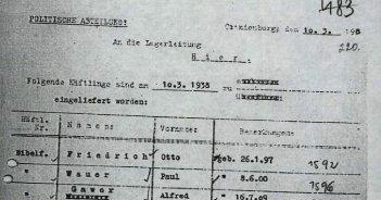 Einweisung in das KZ Sachsenhausen 10.3.38