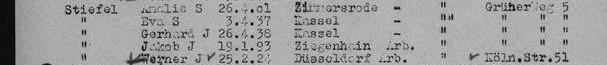 Ausschnitte aus den Deportationsliste 9.12.1941 Riga