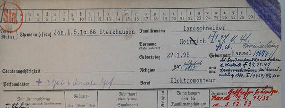 Ausschnitt aus der Meldekarte von Heinrich Landschneider mit einem Vermerk über den Tod in Sachsenhausen (5)