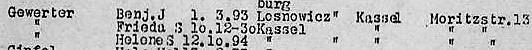 Aszug von der Deportationsliste vom 9.12. 1941 (Kassel - Riga)
