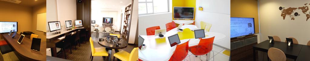 ジェット久留米校|バーカウンタースタイルの教室や明るく広い開放的なメインラウンジ。洗練された空間で英語を学びます。