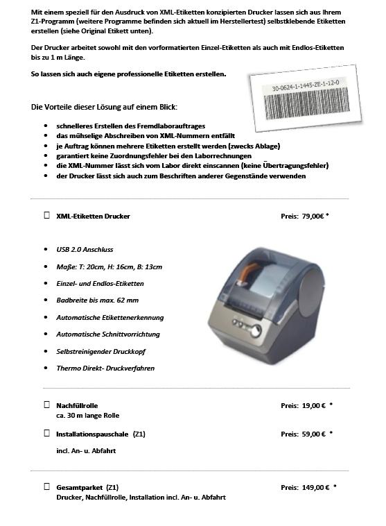 XML - Etikettendrucker