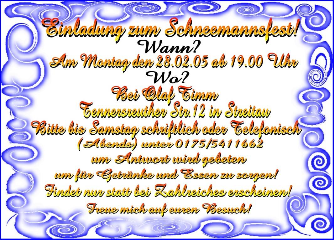 Einladung für alle Nachbarn, Bekannte und Verwante