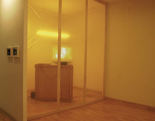 """""""Intimidad"""". Medidas variables. Instalación, vídeo, sonido, luz, plástico, madera. 2006/08"""