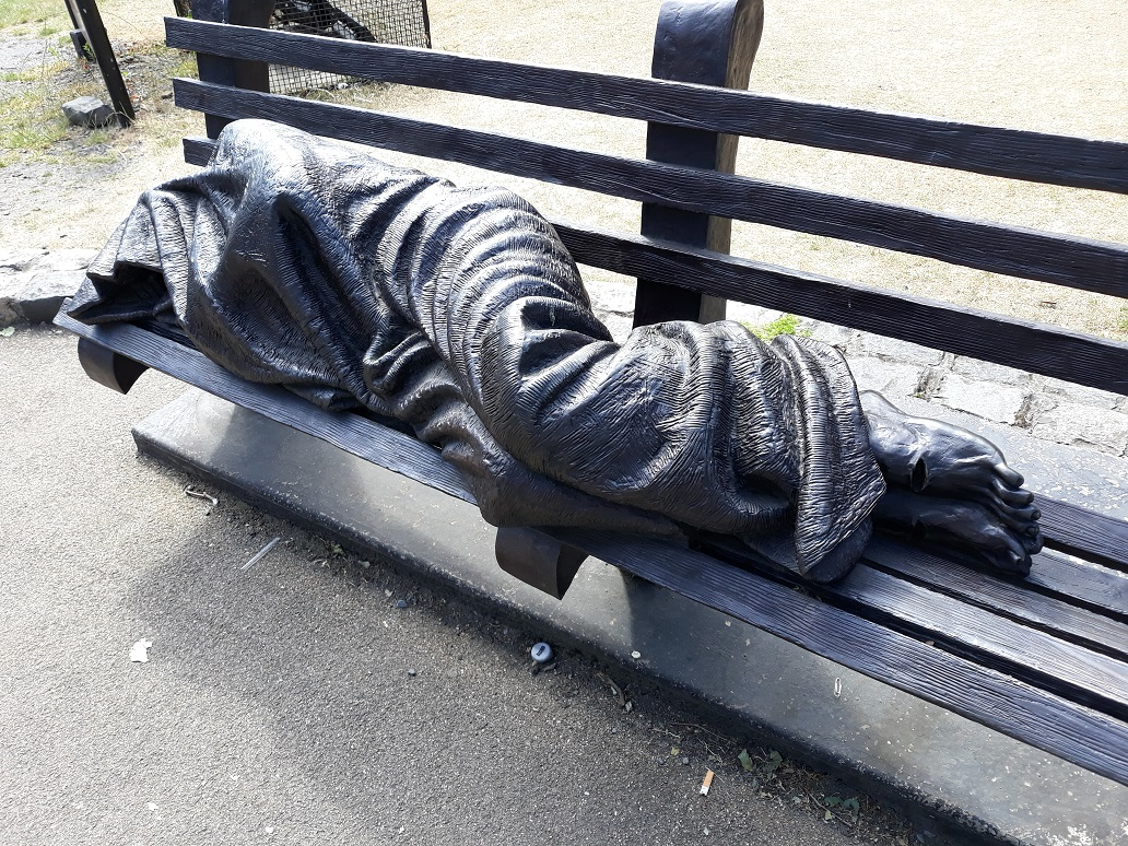 Sleeping statue in Dublin