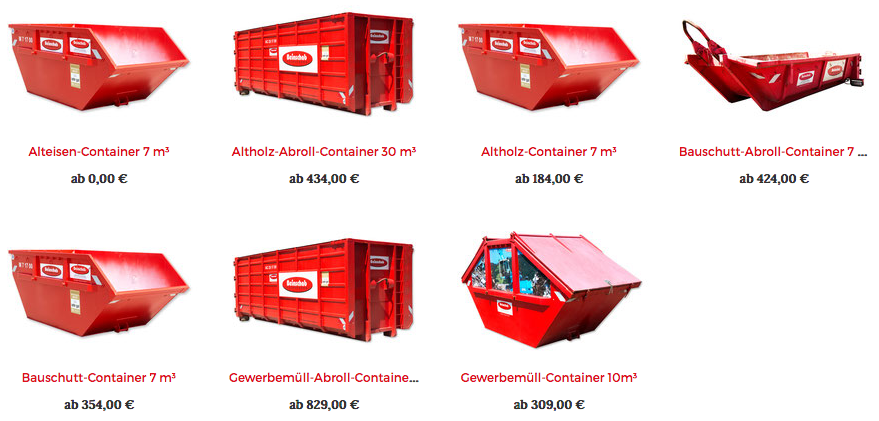 Alteisen-Container, Altholz-Abroll-Container, Altholz-Container, Bauschutt-Abroll-Container, Bauschutt Container, Gewerbemüll-Abroll-Container, Gewerbemüll-Container - die verschiedenen Containerarten von MeinContainer.at
