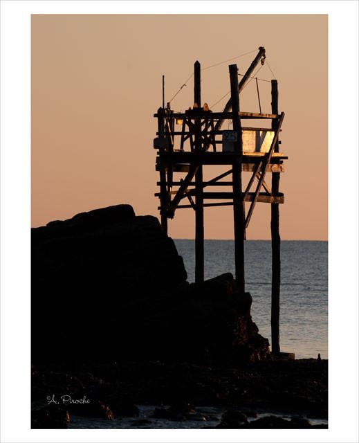 Pêche au carrelet - La Bernerie -Toile 61x46