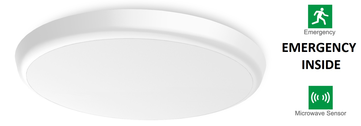 LED CEILING LIGHT WITH EMERGENCY AND PRESENCE SENSOR INTEGRATED