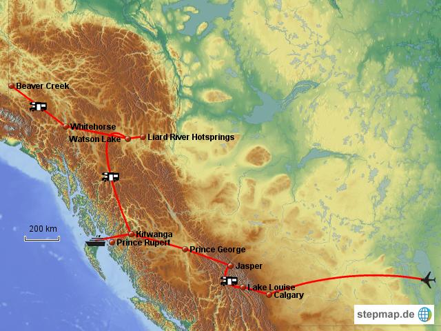Reiseroute in Kanada