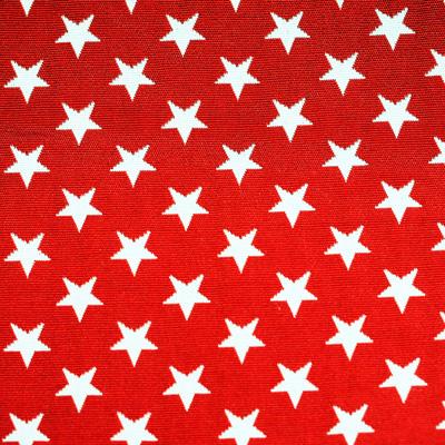 Sterne, weiß auf rot, Stoff Rückseite Leckerlibeutel von Perlen vor die Hunde