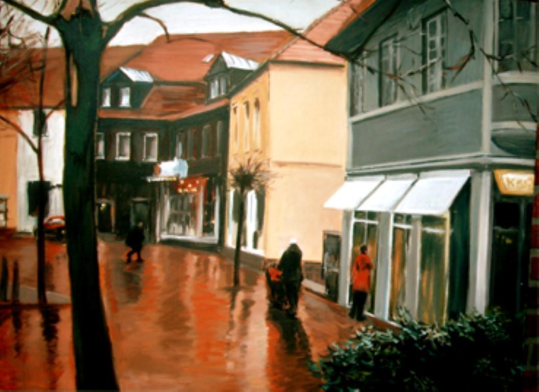 Marktplatz Gescher, Acryl, 80x120
