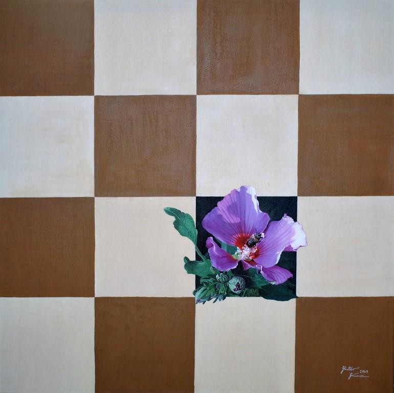 Schach der Natur? - Hibiskus, 100x100cm, Acryl auf Leinwand, 2009