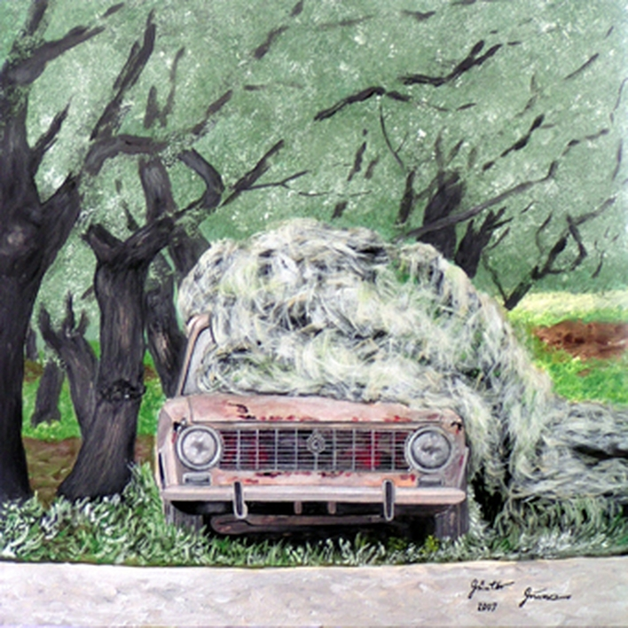 Unter Oliven, Acryl, 50x50