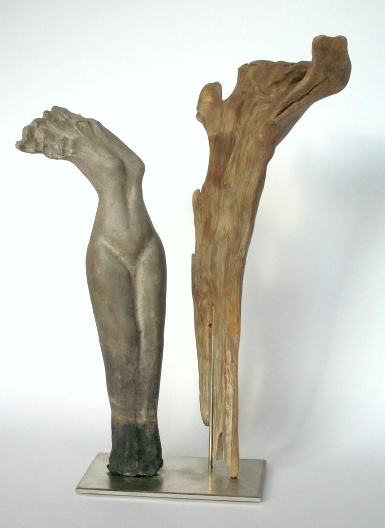 Zwei Wesen, Kapselbrand und Treibholz, 45cm hoch