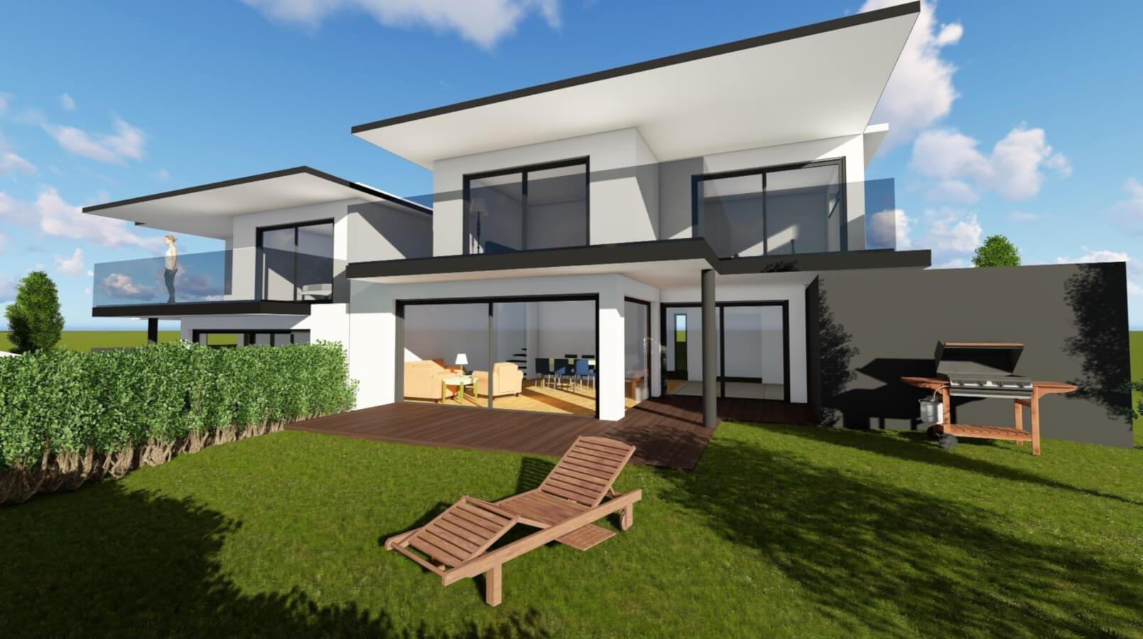 Moderne Doppelhaushälfte mit großzügigem Garten, Balkon und freischwebender Decke