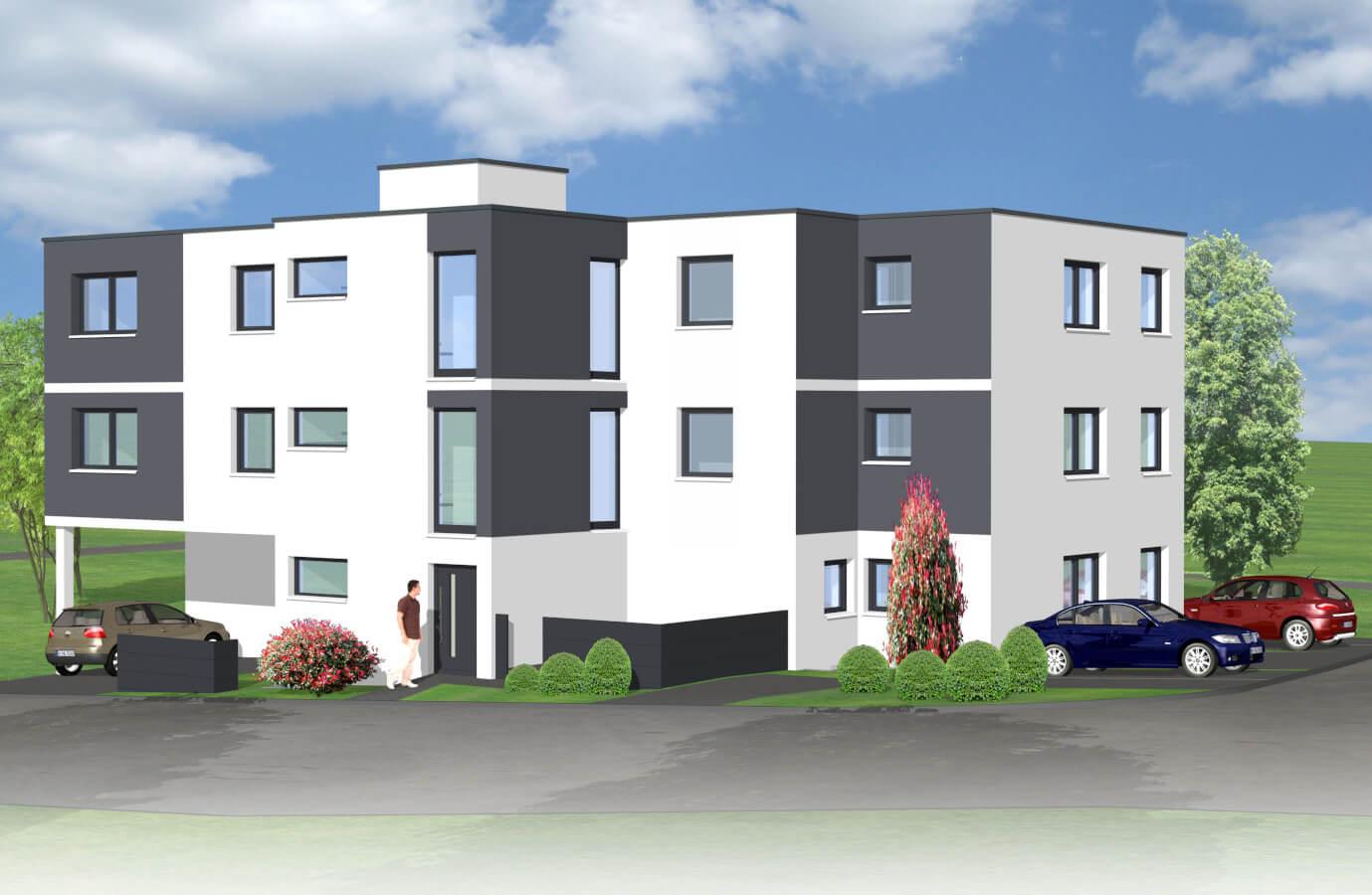 Projektiertes Mehrfamilienhaus im Bauhausstil