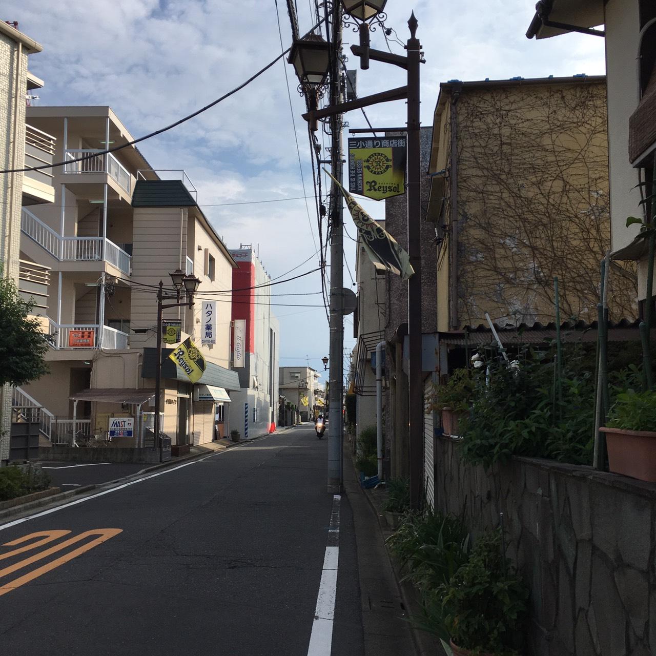 少し歩くと住宅街に。ここも抜けていきます。所々で柏レイソル色を見ることができます