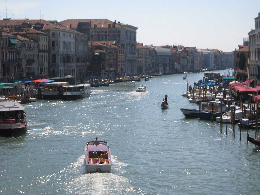 From Marco Molo airport to Venice by direct transport by public boat.(Grand Canal)