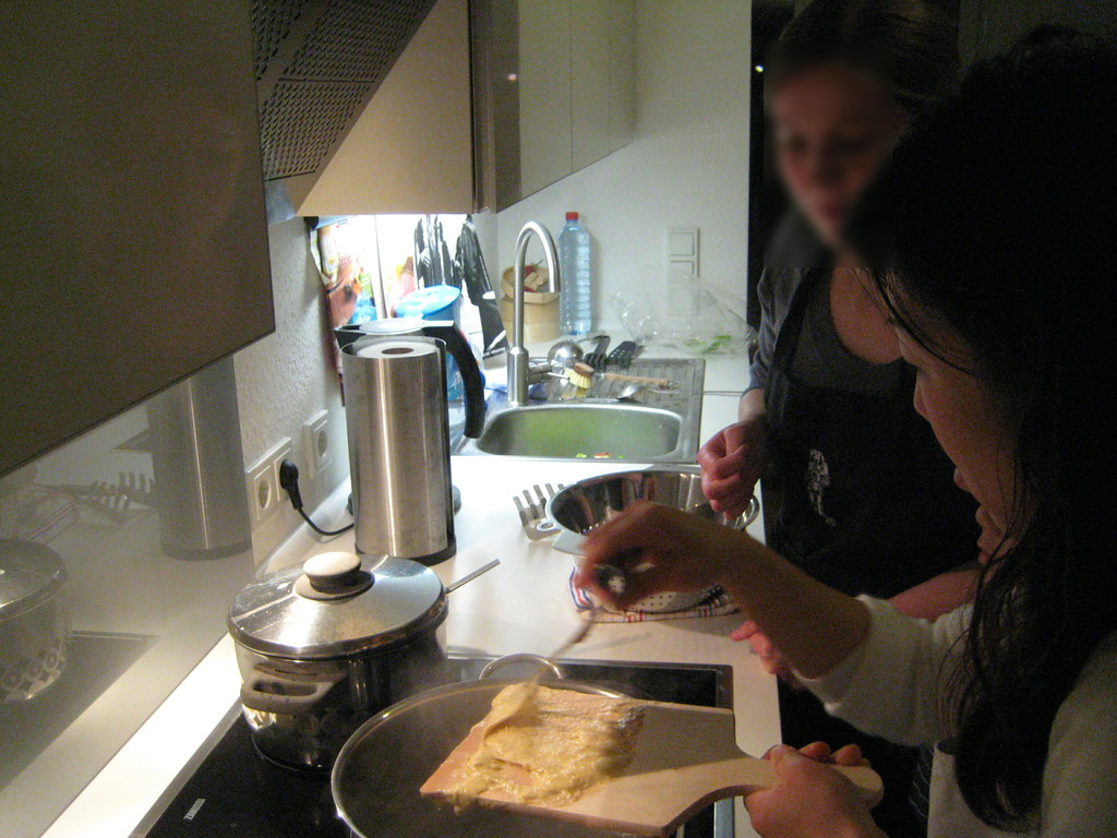 "We also became as student! We learned from our friend how to make one of German typical food""Spaetzle""."