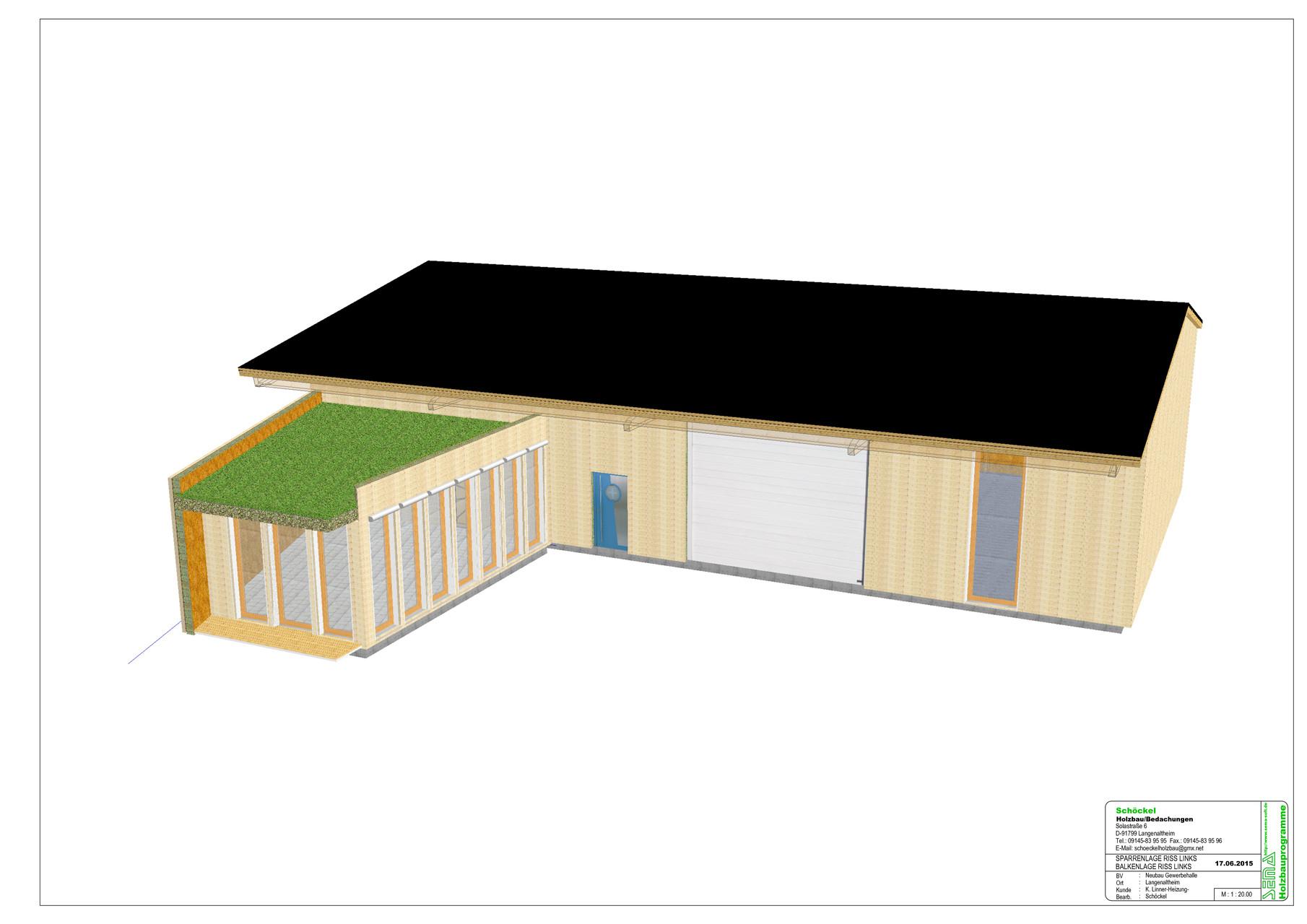 Entwurf Lagerhalle mit Büroanbau