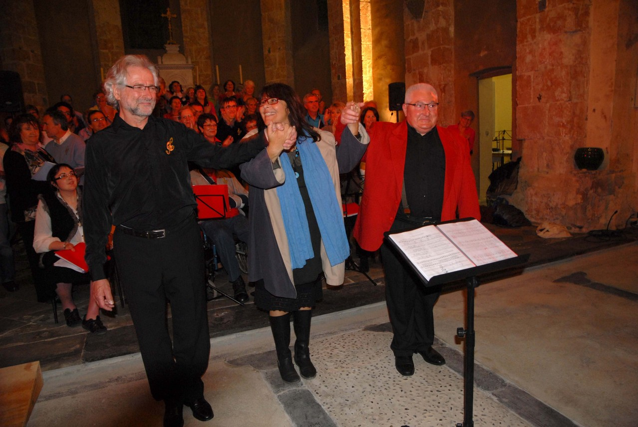 Nos trois chefs de choeur Alain Valérie et Pierre concert de Larreule