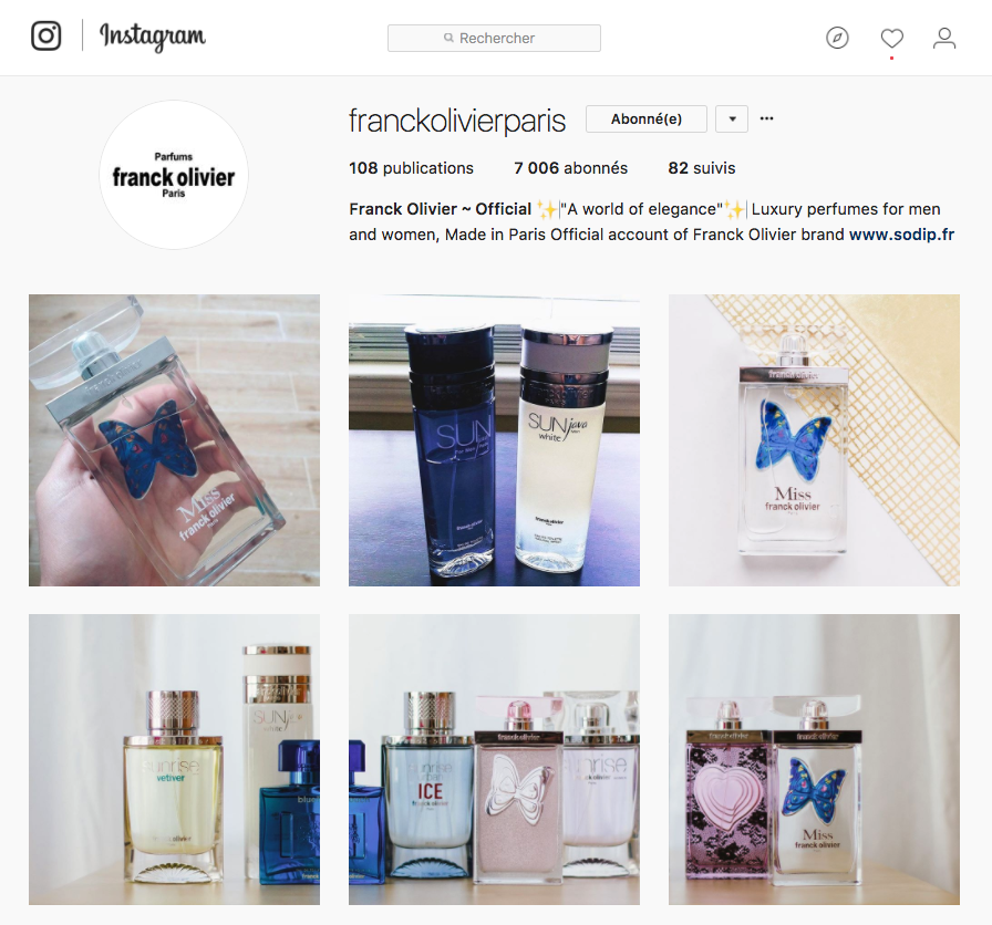 Instagram parfums Franck Olivier Paris