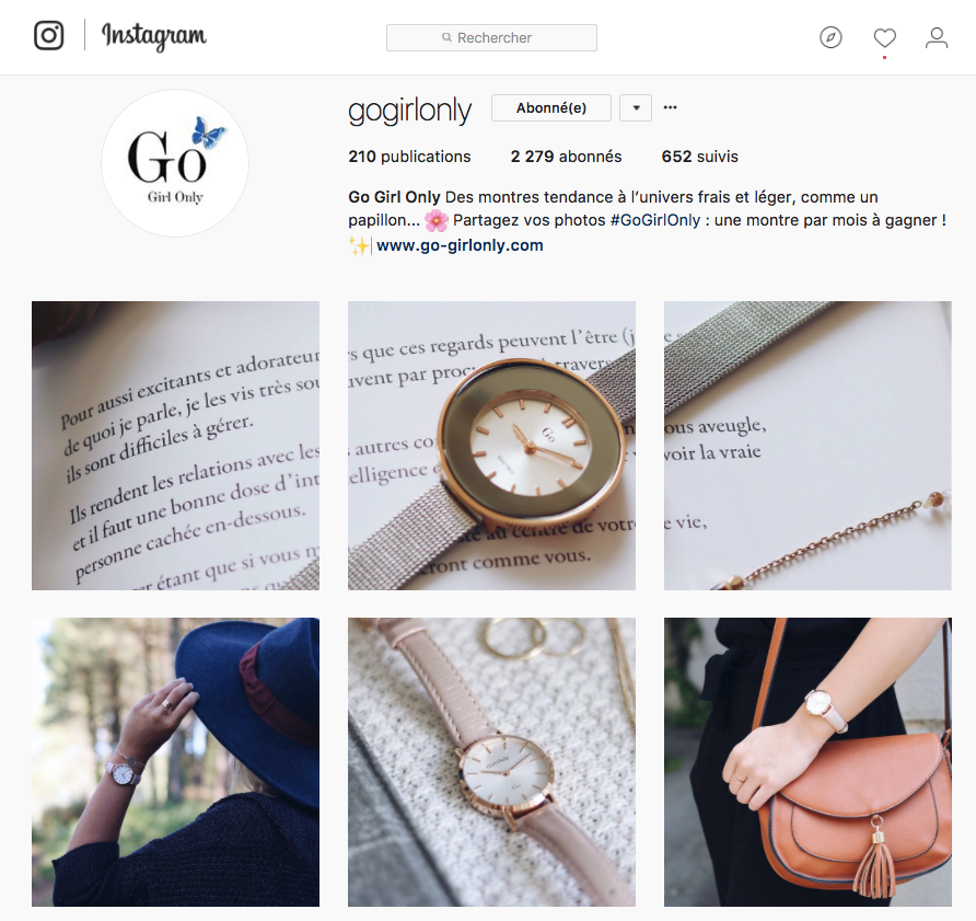 Instagram montres Go Girl Only