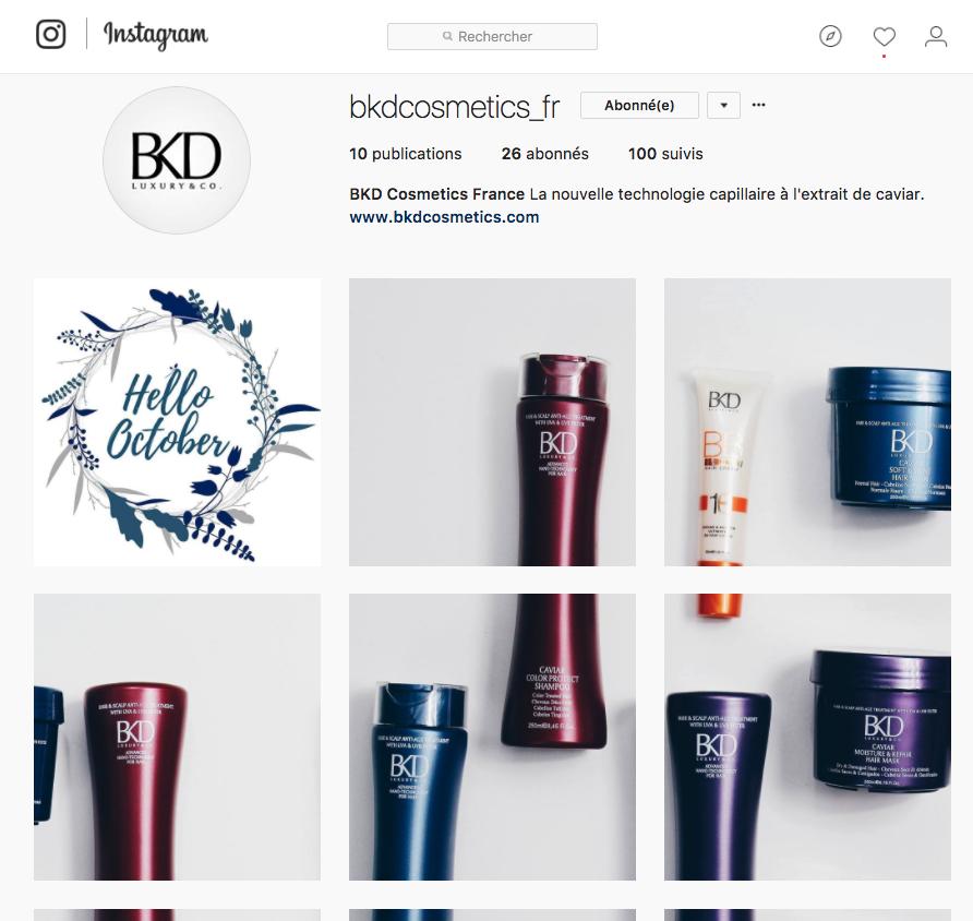 Instagram cosmétiques capillaires BKD cosmetics luxury & co