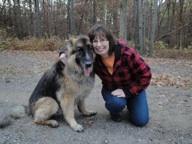Sue and her beloved German shepherd AJ,  who passed in 2013
