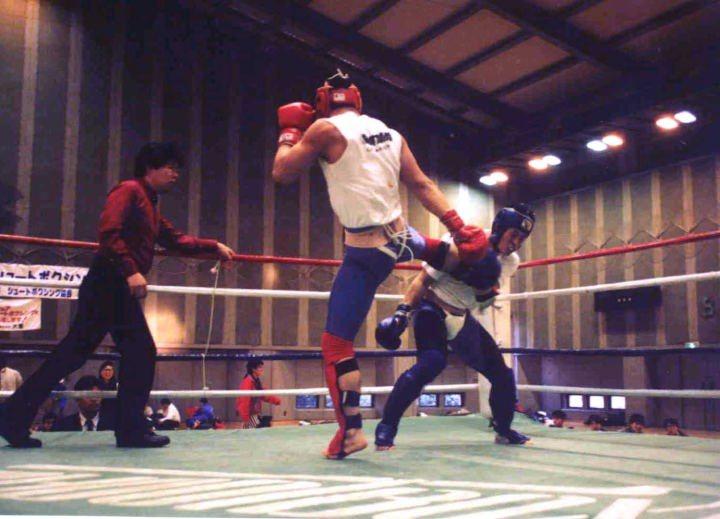全国大会重量級決勝戦。赤のプロテクターが私です。