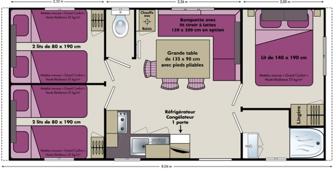 logement-3-chambres-camping-proche-biscarrossse-landes