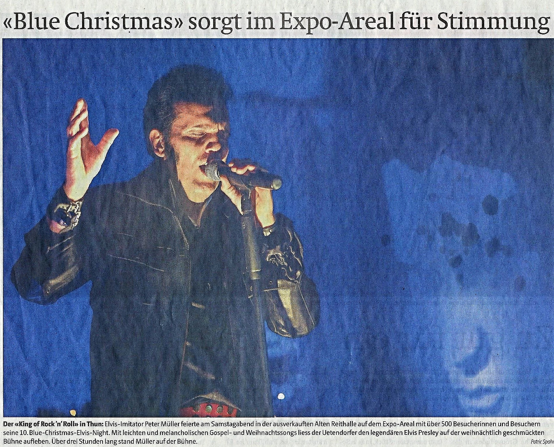 Blue Christmas Elvis Night 2016 Thuner Tagblatt mit Elvis Imitator Peter Müller