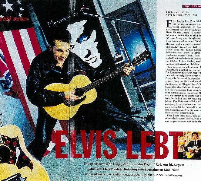 Schweizer Familie mit Elvis Imitator Peter Müller
