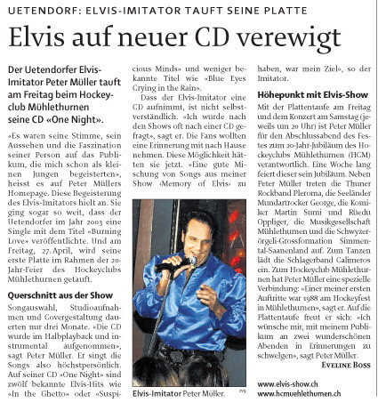 Neue CD On Night mit Elvis Imitator schweiz peter müller