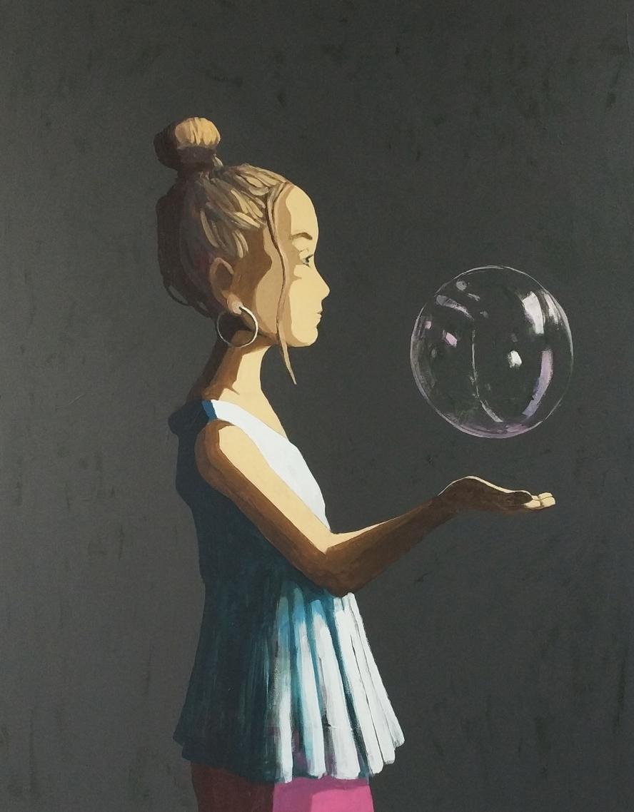 floating bubble - Acryl auf Leinwand, 100x80cm, 2019